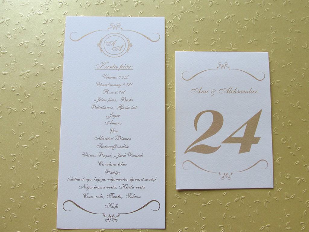 Brojevi za stolove italijanski papir sa strukturom 28
