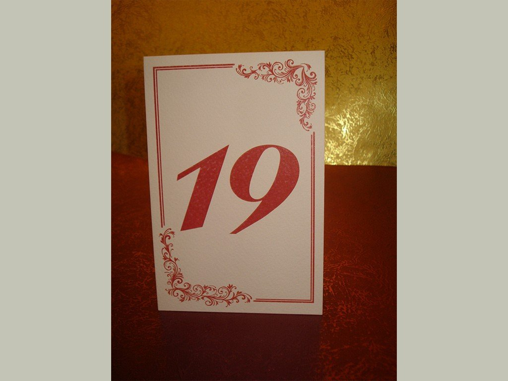 Brojevi za stolove italijanski papir sa strukturom 7