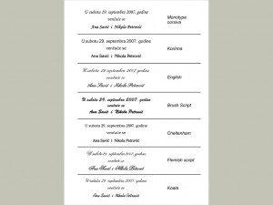Fontovi i izbor tekstova za pozivnice 5
